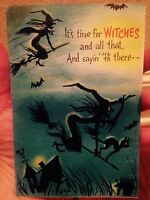 Vintage Hallmark Halloween Pop Up Bat Greeting Card Witch Black Cat Spooky Bats