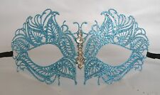 Light Sky Blue Glitter Metal Venetian Masquerade Party Mask * NEW *