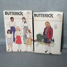 Butterick Lot 2 6803 6830 Girls Size 14 Bust 32 Uniform Skirt Jacket Shirt Short