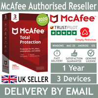 McAfee Total Protection 2020 3 Multi Devices 1 Year- 5 Minute Delivery by Email*