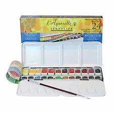 Sennelier l'Aquarelle Watercolour French Metal Tin Of 24 Half Pans classic set