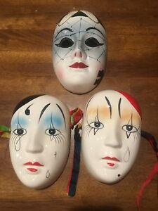 3 Large Ceramic Porcelain Face Wall Mask-Harlequin Mardi Gras