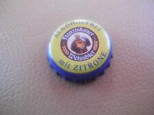Gebrauchter, blau-gelber Kronkorken franziskaner Weissb. ALKOHOLFREI mit ZITRONE