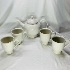 "Lenox~""FRENCH PERLE""-White~Teapot~Beautiful Raised Design + 4 Cups Mugs"