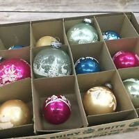 Vintage Stenciled Shiny Brite USA Mercury Glass Christmas Ornaments