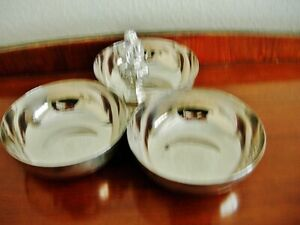 Superb Silver Plated 3 compartment Tidbit tray/bowl  in excellent condition