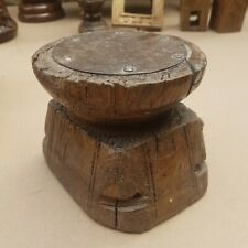 Antique Indian Wooden Tribal Seed Dispenser Carved Wood Candle holder Brown C