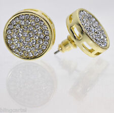 Round Micro Pave Stone Earrings 15 MM Gold Tone Circle Huge Big Iced-Out Hip Hop