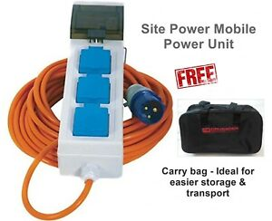Campsites In U.K  IP54 BASEC approved. 5 Metre Electric Camping HOOK-UP Cable