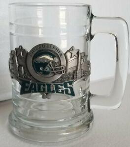 NFL Philadelphia Eagles Pewter Helmet Logo Glass Beer Mug Pint