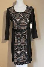 NEW Womens Dress Medium Black Beige Scoop Neck 3/4 Sleeve Belt Knee Length