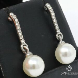 3CT Pearl Drop/Dangle Earrings Women Engagement Jewelry 14K White Gold Plated