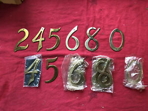 "HUGE LOT!! NOS NEW VINTAGE SOLID BRASS  4"" HOUSE NUMBERS 1940s FREE SHIPPING!!"