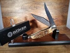 BOKER KNIFE-{LIMITED RUN}-DOUBLE LOCKING BLADE FOLDING HUNTER - STAG -5 1/4""