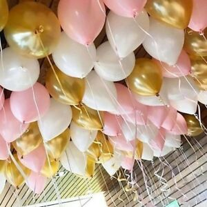 "Blush Pink Balloon Wedding Bride Engaged Latex 11"" Gold White Balloons Ceiling"