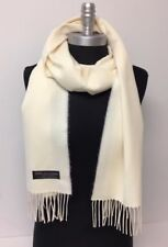 New Women's 100% CASHMERE SCARF MADE IN SCOTLAND SOLID Cream SUPER SOFT
