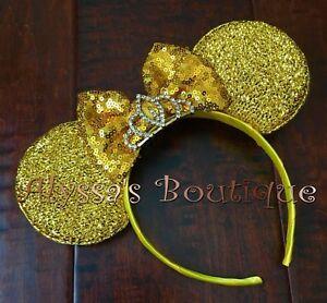 Minnie Mouse Ears Headband Princess Yellow Bow Gold Silver Rhinestone Tiara Cute