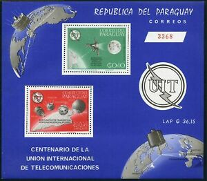 Paraguay 900a perf,imperf,MNH.Michel Bl.73-74. ITU-100,1965.Satellites.Olympic