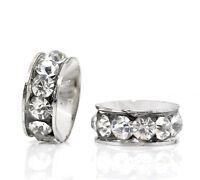 50 Silberf. Strass Rondell Spacer Perlen Beads 13x5mm