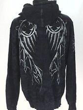 AFFLICTION Hoodie Jacket Black/Gray Angel Wings Distressed Zip USA Made Men's XL