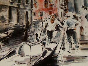 Vintage Framed Print, VENICE ITALY CANAL: JOHN HAYMAN WATERCOLOR 9 x 11