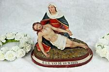 Antique chalkware piete madonna mary statue belgian 1900