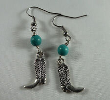 Cowboy /Cowgirl Boot Earrings, Turquoise Gemstone, Tibetan Silver Charm.