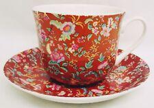 Orange Petite Bombay Large Cup & Saucer Bone China Breakfast Set Decorated UK