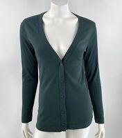Eddie Bauer Cotton Cardigan Medium Green V Neck Button Up Solid Top Womens