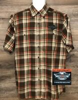 Harley Davidson Performance Men's Brown Plaid Short Sleeve Button Down Shirt M