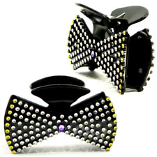 "2X Hair Claw Clips 3.5"" Black Bow Tie Covered in Rhinestone-like Sequins_1871"