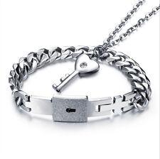 Unique! Key Open the Lock Mens Bracelet & Women Necklace Stainless Steel Set