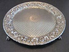 """S. Kirk & Sons Sterling Silver Repousse 8"""" Tray Claw Footed Salver Floral Rim"""