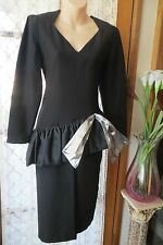 VINTAGE 80's Does 50's ~ LEON HASKIN ~ Black/Silver DRESS * Size 10 * REDUCED !!