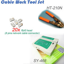 8 Contact Rj45 8 Pin Network Plug Crimping With 20 of rj45 Head Cable Tester Kit