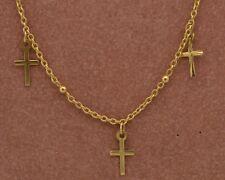 B W 77                14 k YELLOW  GOLD  VINTAGE   CHARM  BRACELET WITH 3 CROSES