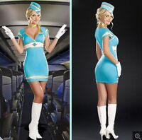 Sexy Pilot Flight Stewardess Aviation Fancy Dress Halloween Party Costume 6 8 10