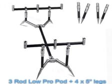 """SUMMIT Tackle 3 Rod Basso Profilo Canna Pod Cobalto Nero 11"""" & 12"""" + 4 x 5"""" gambe"""