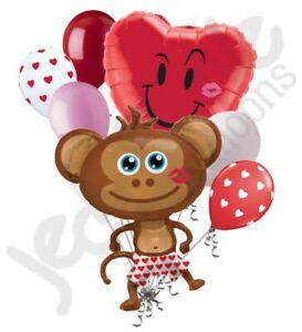 7 pc Hunky Monkey Naught Kiss Happy Valentines Day Balloon Bouquet Mine Hug Love