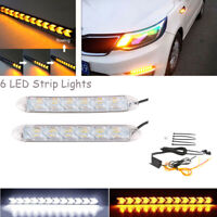 2x fließende 6 LED Lichtleiste Serpentinen weiß/gelb Flexible DRL Blinker Lampe