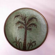 Vintage Brass decorative plate with palm tree- Made in India #51232