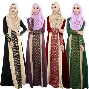 Jilbab Abaya Lace Stitching Muslim Kaftan Islamic Long Sleeve Maxi Dress Arab JW