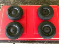 """Set of 4 Wheels with Rubber Tread 8"""" for VW, Mercedes, Porsche Metal Pedal Cars"""