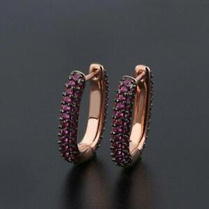 Delicate 2Ct Round Red Ruby Cluster Hoop Earrings Solid 14K Rose Gold Finish