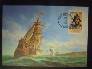 USA - JUAN RODRIGUEZ CABRILLO  FDC (MAXI CARD) SHIPPING POSTCARD 1992 28th Sept.