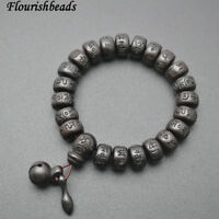 Natural Black Jujube Wood Carved Om Mani Padme Hum Words Beads Mala Man Bracelet