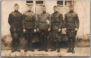 1919 WWI RPPC Photo Postcard Four U.S. Army Soldiers in Germany / Names on Back