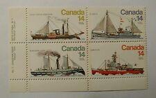 Canada #776-779 1978 14c Ice Vessels LOWER LEFT CORNER PL BLOCK MNH