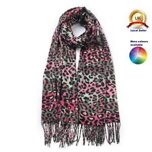 Cashmere Blend Leopard Print Tassel Hem winter woman girl Scarf