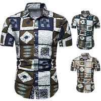 Hawaiian Men's Summer Floral Printed Shirts Beach Short Sleeve Shirt Tops Blouse